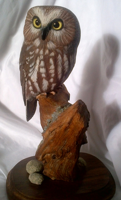 Evelyn hurford saw whet owl carving